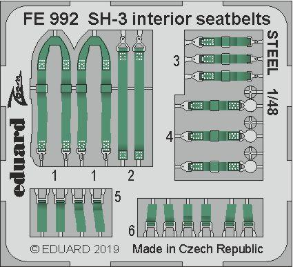 SH-3 интерьер, стальные ремни 1/48