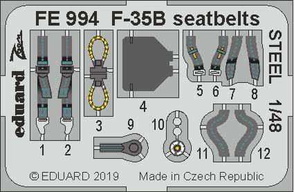 F-35B seatbelts STEEL 1/48