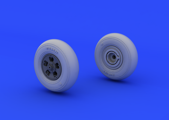 Spitfire wheels - 5 spoke, smooth tire 1/48  - 2