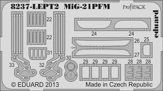 MiG-21PFM エッチングパーツセット 灰色 1/48  - 2