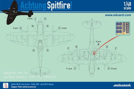 Spitfire Mk.IX povrchové panely 1/48  - 6