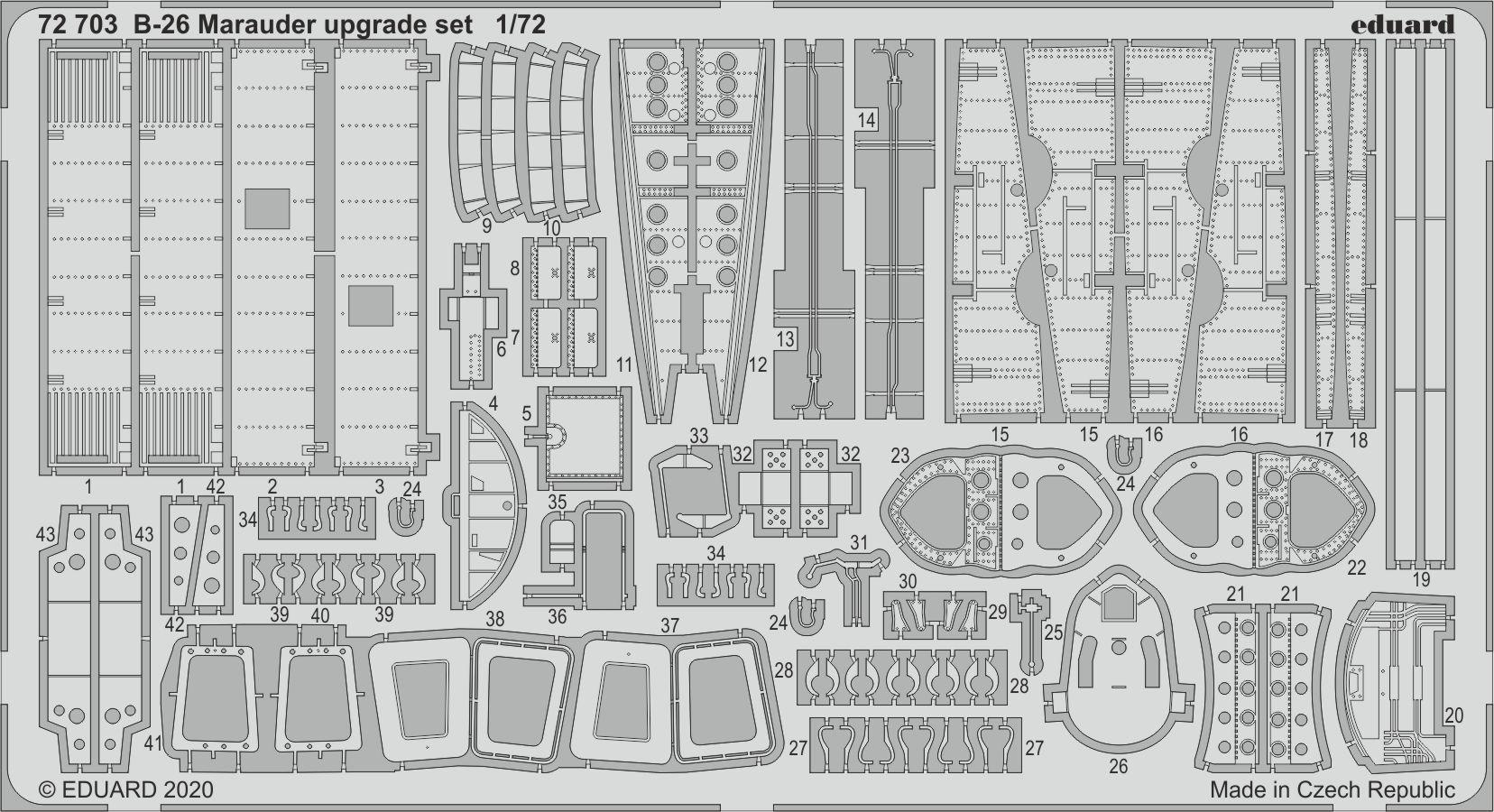 EDUARD 72703 Upgrade Set for Eduard Kit B-26 Marauder in 1:72