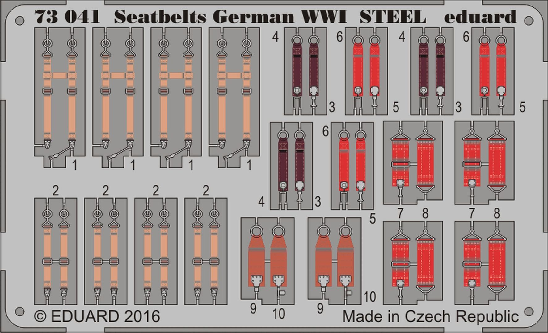 Steel, 1 Photo-Etched Sheet Eduard Models 1//48 WWII Italy Fighters Seatbelts