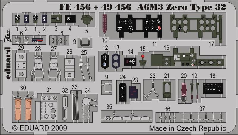Eduard 1//48 A6M3 Zero Type 22 Etch Pour Hasegawa # FE218