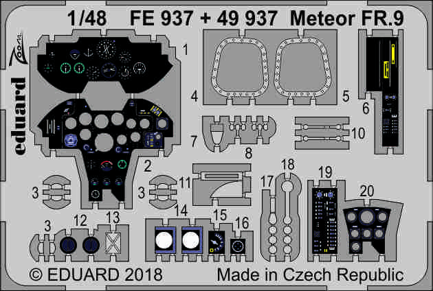 EDUARD ZOOM FE938 Seatbelts STEEL for Airfix® Kit Meteor FR.9 in 1:48