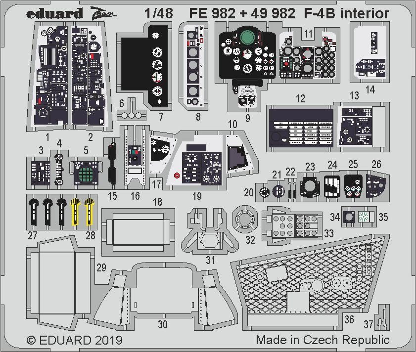 Neu Eduard Accessories FE1012-1:48 F-4J for Academy