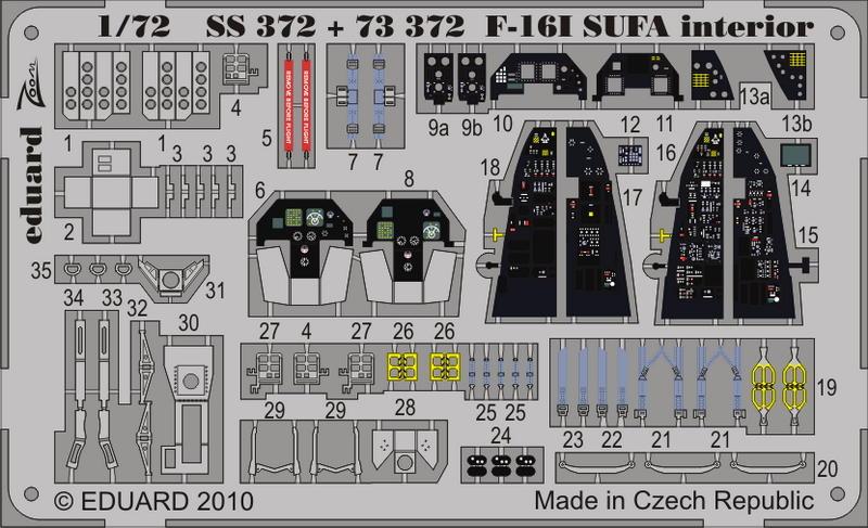 EDUARD 491024 Interior for Hasegawa® Kit F-16I SUFA in 1:48