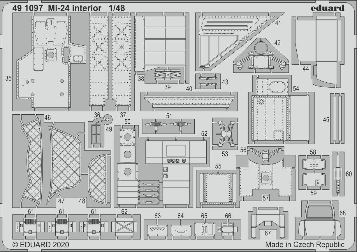 MIL MI-24 V PHOTOETCHED SET BLACK INTERIOR FOR ZVEZDA KIT #FE1101 1//48 EDUARD