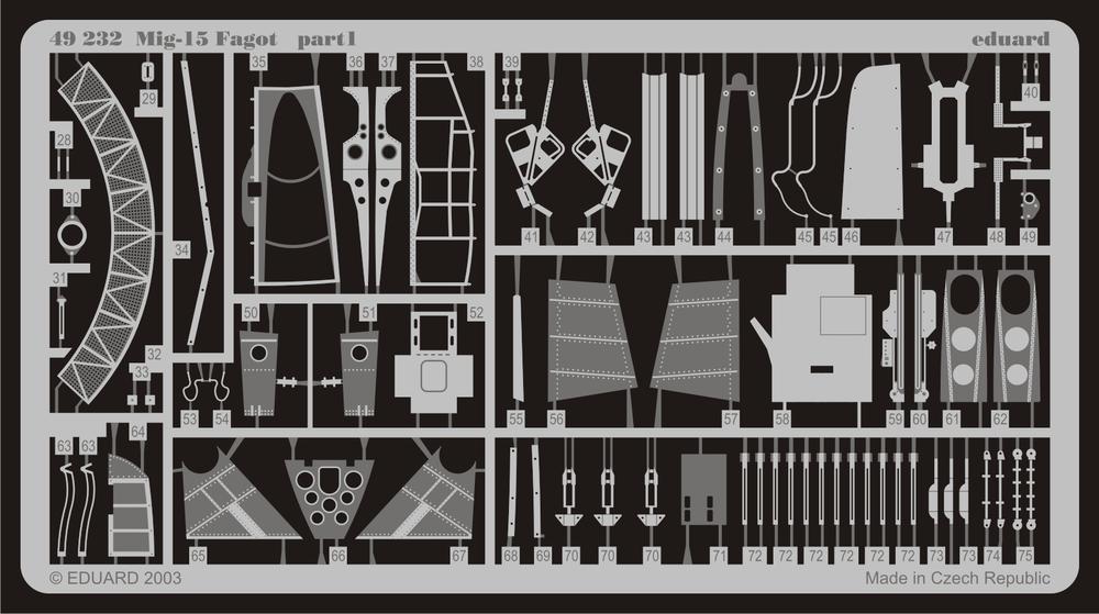 Etch For TRUMPETER kit # FE232 Eduard 1//48 MiG-15 Fagot
